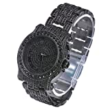 Mens Hip Hop Luxury Iced Out Techno Pave Watch Black Tone Heavy Bezel Case Band Simulated Diamond WM 7341 BK