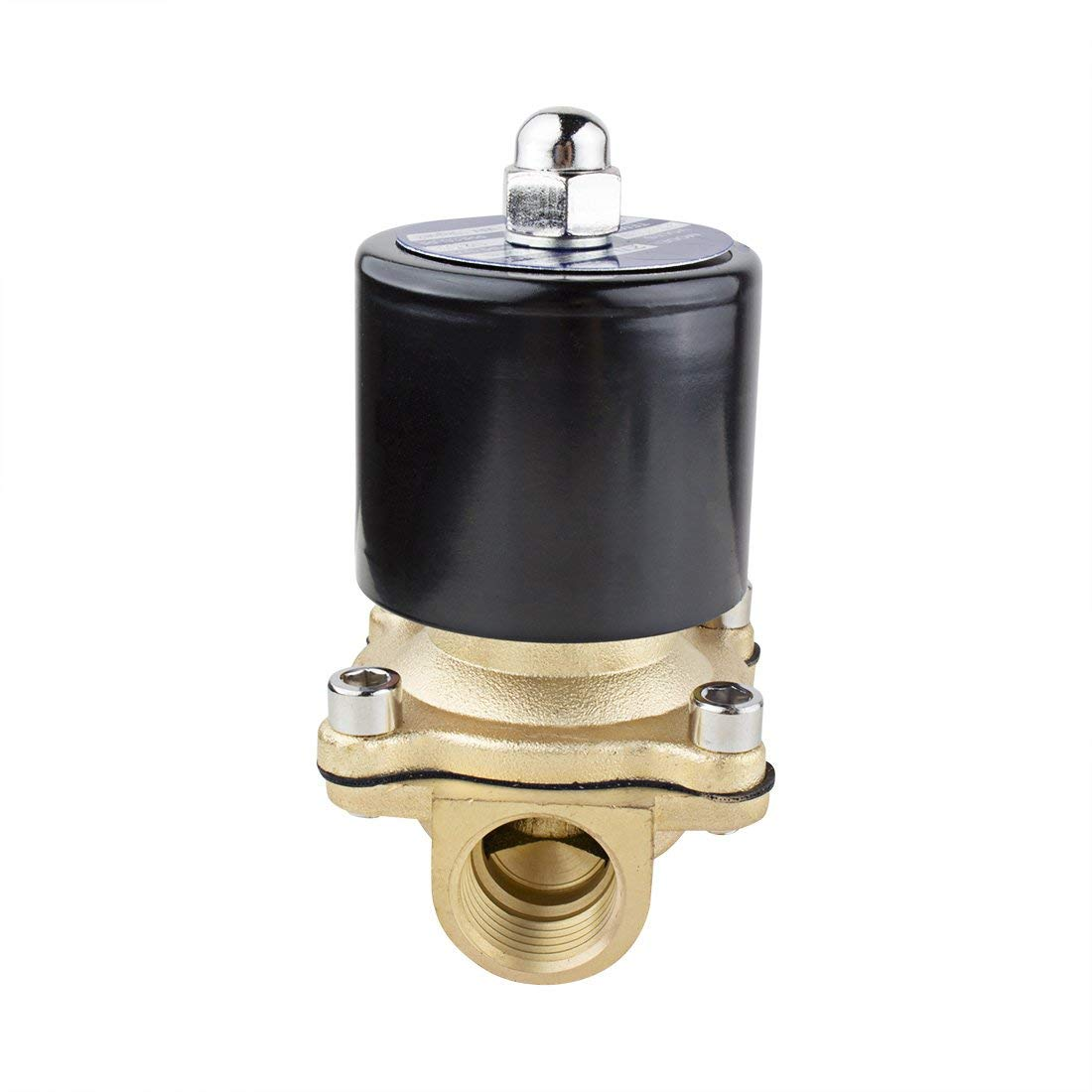 AC 110V 2W160-15 NPT 1//2 inch Normally Closed Brass 2-Way Solenoid Valve N//A for Water Air Gas Fuels