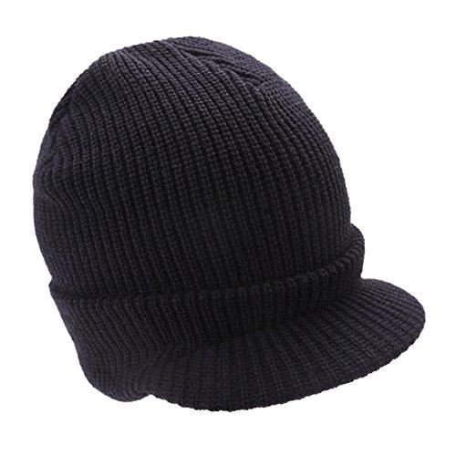 Visière Chapeau Ski Acvip Tricoté Femme Hiver Chaud Noir Bonnet wqRIaT