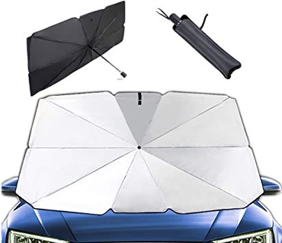 Moonshuttle Umbrella Style Portable Foldable Sunshade Car Windshield Outdoor Storage Dashboard