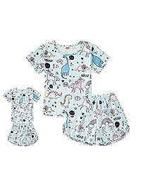 ModaIOO Matching Dolls & Girls Pajamas Dinosaur Mermaid Unicorn Butterfly Long Short Sleeve Sleepwear Set
