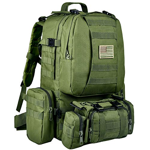 CVLIFE Tactical Military Backpack 60L Built-up Army Rucksacks Outdoor 3 Day Assault Pack Combat Molle Backpack for Hunting Hiking Fishing with Flag Patch Army Green