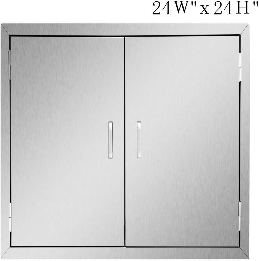 Seeutek Outdoor Kitchen Doors BBQ Access Door 24W x 24H Inch - Stainless Steel Double Wall Construction Vertical Door for Outdoor Kitchen Grilling Station or Commercial BBQ Island