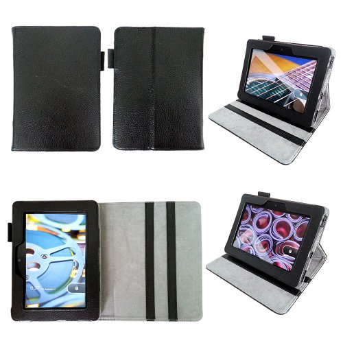 Bear Motion for Kindle Fire HD 7 (2012 Release) - Genuine Leather Case for Kindle Fire HD 7 (2012 Model) with Built in Stand (WILL NOT FIT Other Versions of Fire HD 7 Tablets) - Black (Genuine Leather Case Kindle Fire)