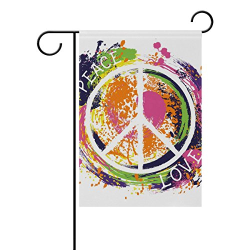 - YZGO Hippie Peace Symbol Garden Flag Home Polyester Fabric Mildew Resistant Welcome House Yard Banner,12x18 Inch