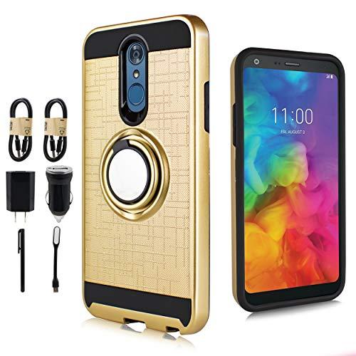 Marble Series Value (LG Q7 Case, LG Q7 Plus Case, Hybrid Phone Case Magnet Mount Ready Grip Pattern Kickstand Slim Shock Bumper Cover [Value Bundle] (Gold))