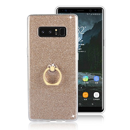 Price comparison product image Galaxy Note 8 Case,Note 8 Case,DAMONDY 2 In 1 Bling Ultra Thin TPU Soft Glitter Paper Back Cover with Ring Holder Kickstand Case for Samsung Galaxy Note 8 2017 -gold