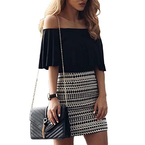 Mini Black Dress 2 Jumpsuit Skirt TM BetterGirl Womens Sexy Off Shoulder Print Set Piece HZnSqFwU