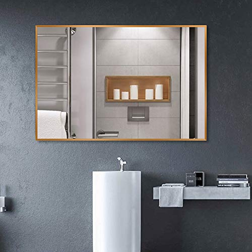 Kingmond Large Modern and Simple Bathroom Wall-Mounted Aluminum Alloy Framed Mirror Horizontal -