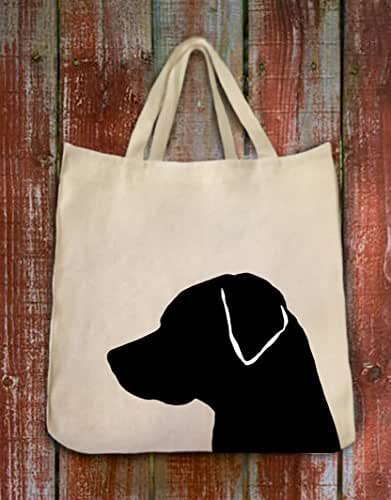 Black Labrador Retreiver Dog Portrait Silhouette Extra Large Eco Friendly Reusable Cotton Twill Grocery Shopping Tote Bag
