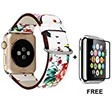 Band For Apple Watch With Free Tempered Glass Screen Protector 42mm, Jimbird Soft PU Leather Replacement Strap Wrist Band for Women Nike+, Series 3, Series 2, Series 1, Sport, Edition