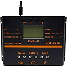 Solar Charge Controller 80A PWM 12V 24V 1920W Solar Panel Charging Discharge Regulator with 5V USB Output Multip Circuit Protection Anti-Fall Durable ABS Housing Enhanced Heat Sink ZHCSolar