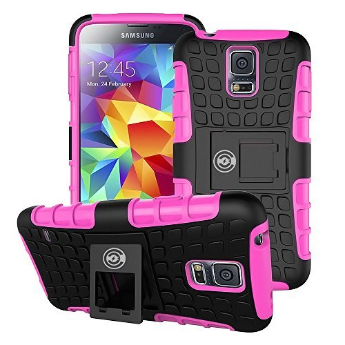 Galaxy S5 Case [Wallet Thin] by Cable And Case, The Best Heavy-Duty Cell Phone Cases for The Galaxy S5. Great Protective Phone Case for Active Men, Women, Girls and Boys. Clip Out Kick-Stand (Pink) (Samsung S5 Otter Box Wallet Case)