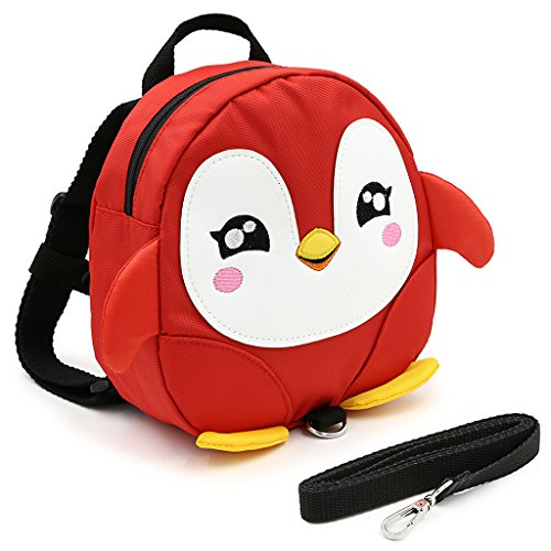 Hipiwe Baby Toddler Walking Safety Backpack Little Kid Boys Girls Anti-lost Travel Bag Harness Reins Cute Cartoon Penguin Mini Backpacks with Safety Leash for Baby 1-3 Years Old (Red)