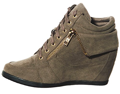 shoewhatever Pl Women's Fashion Hi up Top Wedge Lace Sneakers Taupegl q6SgxwqrA5