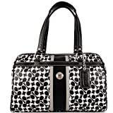 Coach Chelsea Heritage Zip Satchel - Black/White