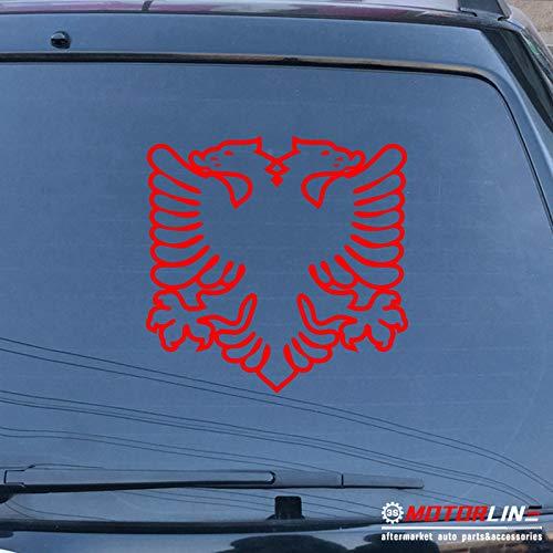3S MOTORLINE Albania Double Headed Eagle Decal Sticker Albanian Car Vinyl die Cut no bkgrd c (red, 22'' (55.9cm))