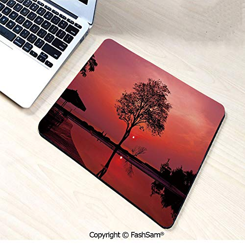Desk Mat Mouse Pad Thai Mosaic Art Culture Stylized Abstract Lines Dots Pattern Folk Asian Design for Office(W9.85xL11.8)