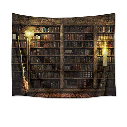 Vintage Halloween Scenes (HVEST Magical Castle Tapestry Books on Bookshelf with Witch's Broom Wall Hanging Vintage Library Tapestries for Bedroom Living Room Dorm Decor,80Wx60H)