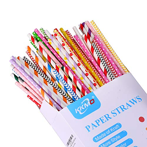 KKMO 250-Pack Biodegradable Paper Straws 28 Colors Drinking Straw for Mason Jar Cup Yeti Party Birthday Wedding Bridal Shower Baby Shower