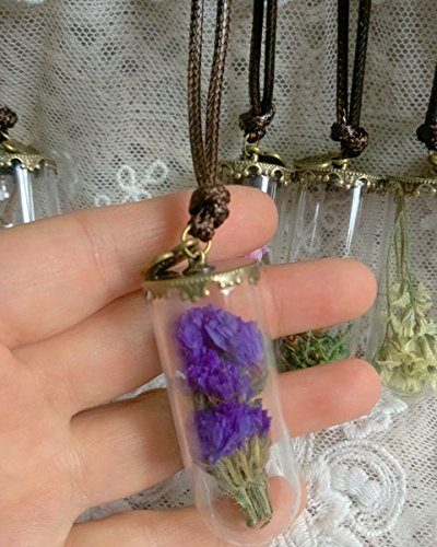 Terrarium Necklace Nature Jewelry, Fairy Garden Pendant, Moss, Purple Flowers , Miniature Glass Bottle Forget Me Not Dried Flower