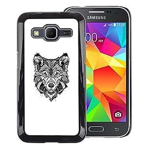 A-type Arte & diseño plástico duro Fundas Cover Cubre Hard Case Cover para Samsung Galaxy Core Prime (Black White Hound Dog Canine Sketch)