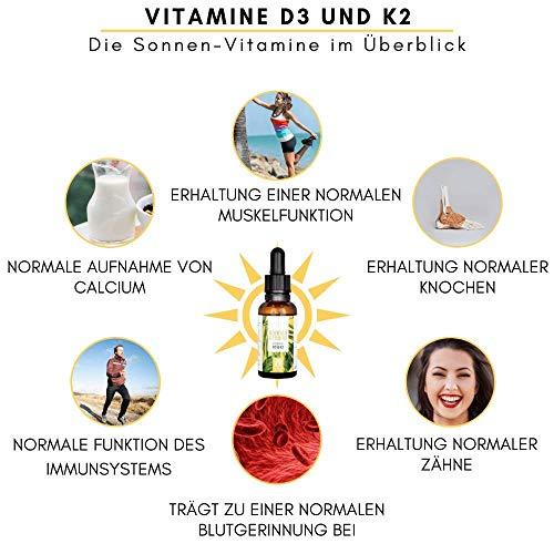 Vitamin D3 + K2 Tropfen - 100% VEGAN - Premium Vitamin D aus