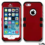 iphone 5 case red and black - MyTurtle Shockproof Hybrid 3-Layer Hard Case Bundled with [9H Tempered Glass] Screen Protector Shock-Absorption and Anti-Scratch Bumper Back Cover for iPhone SE 5S 5 (Red Black)