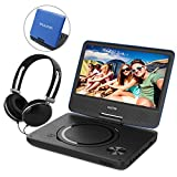 7.5 Inch Portable DVD Player, Perfect Gift for kids with Swivel Screen, USB / SD Slot and 4 Hours Rechargeable Battery for Car Trip Use (Blue)