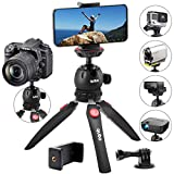 qubo Phone Tripod Camera Stand - Premium Mini Tripod Tabletop - Small Tripod Cell Phone Holder - Hand Tripod Compatible with iPhone Smartphones GoPro Webcam Video Projector Compact DSLRs