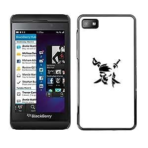 Caucho caso de Shell duro de la cubierta de accesorios de protección BY RAYDREAMMM - Blackberry Z10 - Minimalista bandera pirata