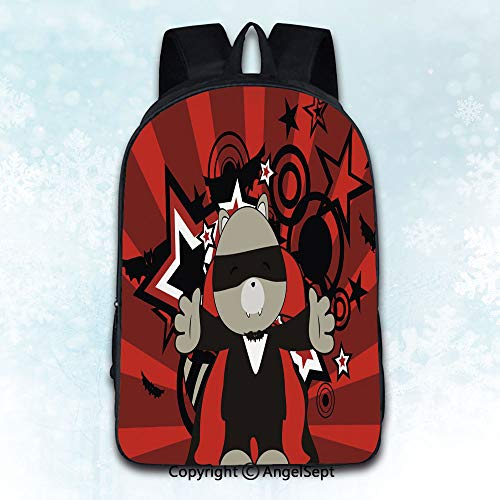 Women Backpack Oxford Cloth Elegant Shoulder Bag,cute raccoon dracula costume halloween background Theme Artwork Print Decorations Illustration Multicolor 16 inches,Backpacks for Teen Girls]()