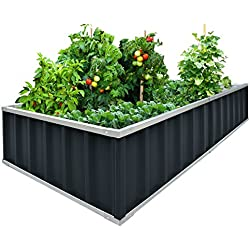 "Extra-thick 2-Ply Reinforced Card Frame Raised Garden Bed Kingbird Galvanized Steel Metal Planter Kit Box Grey 68""x 36""x 12"" Including 8pcs T-types Tag a Pair of Gloves"