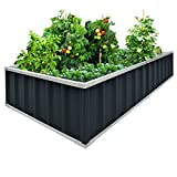 Extra-thick 2-Ply Reinforced Card Frame Raised Garden Bed Kingbird Galvanized Steel Metal Planter Kit Box Grey 68''x 36''x 12'' Including 8pcs T-types Tag a Pair of Gloves