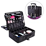FLYMEI Portable Makeup Train Case, Professional Makeup Case 3 Layer Cosmetic Organizer 16'' Makeup Artist Case with Shoulder Strap and Adjustable Divider, Black