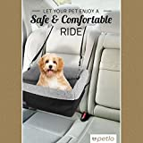 Petlo Dog Booster Car Seat with Soft Luxurious Fleece - Waterproof Padded Bottom - Clip On Leash - Headrest and Seat Straps - For Dogs and Cats up to 20lbs