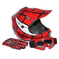 XFMT Youth Kids Motocross Offroad Street Dirt Bike Helmet Goggles Gloves Atv Mx Helmet Pink Butterfly (XL, Red Spider) by XFMT