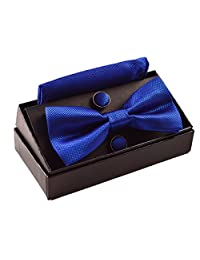 Alizeebridal Men's Solid Formal Banded Pre-tied Bow Ties Set (Royal Blue)
