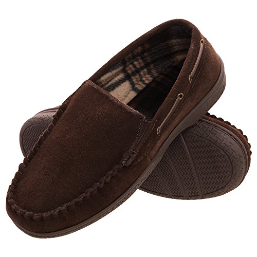 Heat Edge Mens Memory Foam Suede Slip on Indoor Outdoor Venetian Moccasin Slipper Shoe (12, Brown)