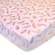 American Baby Company Heavenly Soft Chenille Fitted Crib Sheet for Standard Crib and Toddler Mattresses, Sparkle Gold Feather on Solid Pink