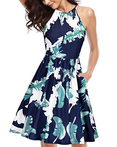 KILIG Women's Halter Neck Floral Sundress Casual Summer Dresses with Pockets (Floral I,XL) (Floral Halter Sundress)