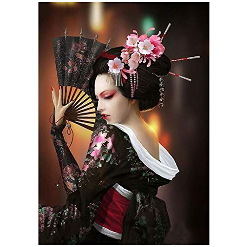 Diamond Painting Kits for Adults, Flower Woman Full Drill Rhinestone Embroidery Cross Stitch Pictures Arts Craft Home Wall Decor (Japanese Girl, 12x16 in)
