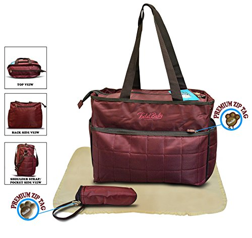 Todd Baby Official Brand New 3 Pc Quilted Bottle Holder Set Diaper Nappy Changing Stylish Designed Strap Baby-Care Shoulder Bag (Maroon)