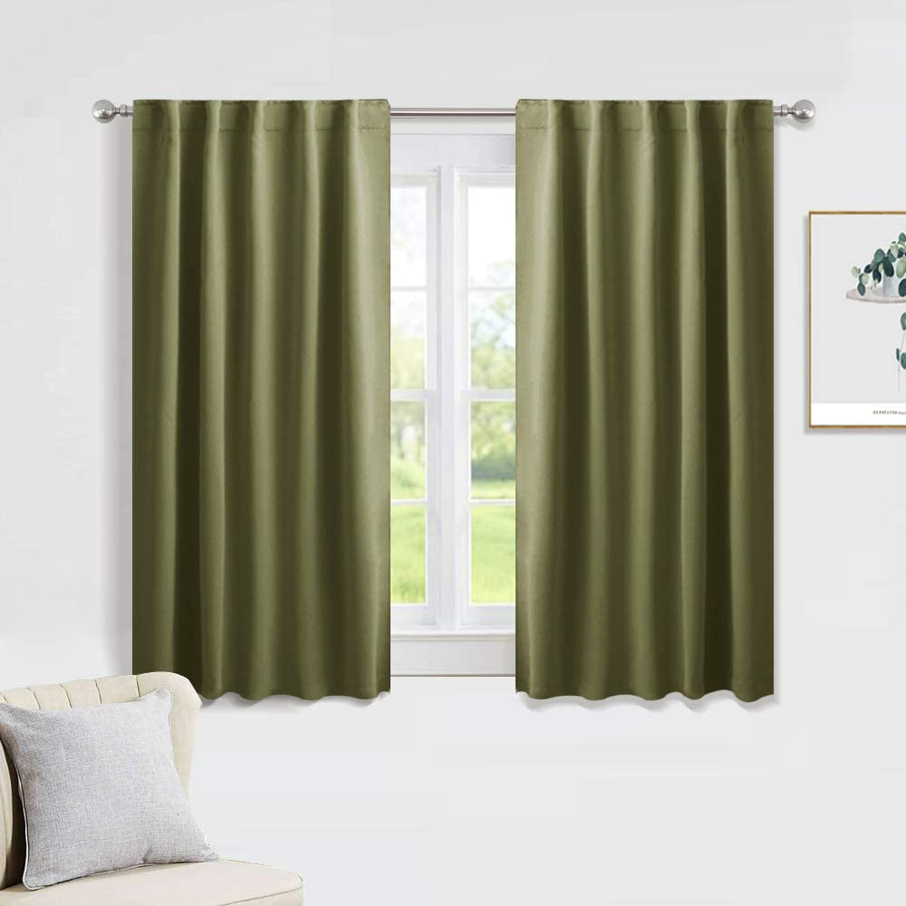 PONY DANCE Blackout Kitchen Curtains - Window Drapes Rod Pocket & Back Tab Energy Efficient Curtain Panels Xmas Home Decor for Kids' Room, 42-inch Wide by 45 Long, Olive Green, 2 PCs