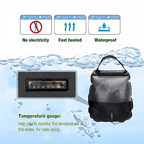 Solar Shower Bag Camp shower with Removable Hose and On-off Switchable Shower Head for Camping Beach Swimming Outdoor Traveling Hiking (5 Gallon)