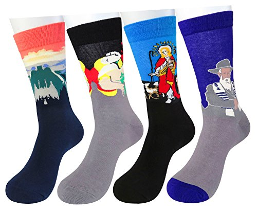 WEILAI SOCKS Men's Famous Colorful Art Painting Dress Crew Socks-Gift For Father's Day (Pattern 3)