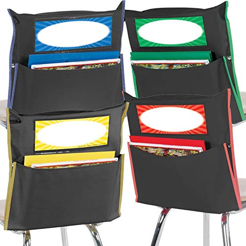 Really Good Stuff Store More Black Grouping Chair Pockets 4 Color Piping Set of 32