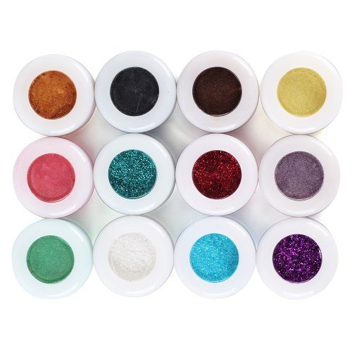 YESURPRISE New Fashion 12 colors Assorted Make up Mineral Eye Shadow Pigments Glitter Art Cosmetics Eyeshadow Gift