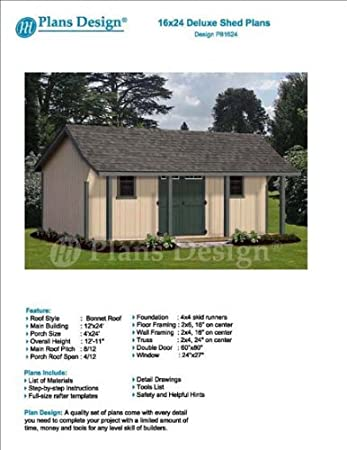 16  x 24  Guest House   Garden Storage Shed with Porch Plans   Design. 16  x 24  Guest House   Garden Storage Shed with Porch Plans