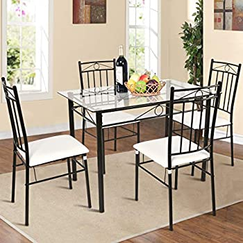 Amazon Com Tangkula Dining Table Set 5 Piece Home Kitchen Dining